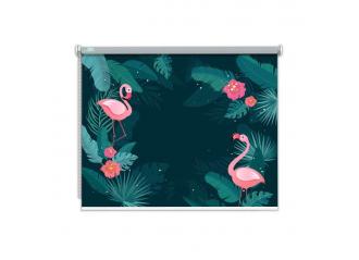 Store enrouleur occultant sur mesure flamant rose fond vert