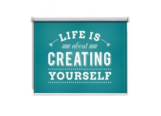 Store enrouleur occultant sur mesure fond bleu Life is about creating