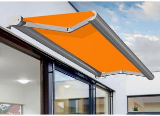 Store banne coffre sur mesure jusqu'à 3,5m avec toile orange Dickson orchestra 0018
