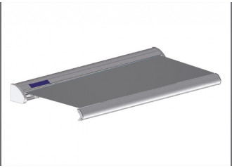 Store solaire avec coffre modèle SOLAR sur mesure, toile ardoise Dickson orchestra 8203, jusqu'à 5m90 x 3m
