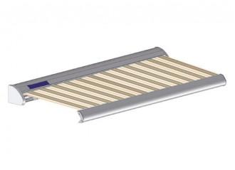 Store solaire avec coffre modèle SOLAR sur mesure, toile davos Dickson orchestra 6172, jusqu'à 5m90 x 3m