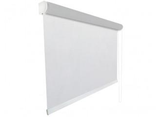 Store enrouleur Anti-chaleur toile 1% d'ouverture blanc et perle 002007 jusqu'à 240cm de large