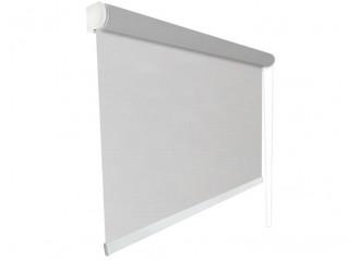 Store enrouleur Anti-chaleur toile 1% d'ouverture gris et lin 007008 jusqu'à 240cm de large