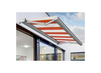 Store banne coffre VALDI S sur mesure, toile Sauleda Sensation Orange Blanc 2052, jusqu'à 3.5x2m