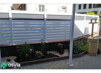 Clôture PVC ajourée Bolton plaque grise
