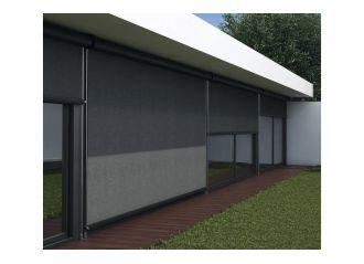 Store extérieur vertical avec coffre toile Serge Ferrari Soltis 92 et câbles inox 3mm