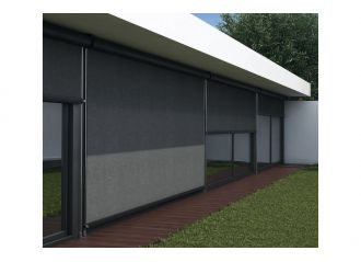 Store extérieur vertical avec coffre toile Serge Ferrari Soltis et tiges inox 10mm