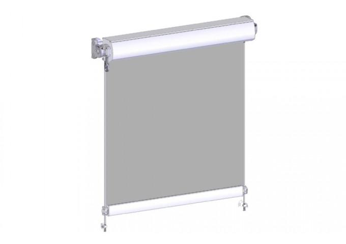 Store extérieur vertical avec coffre toile PVC micro-perforée Sunworker et tiges inox 10mm